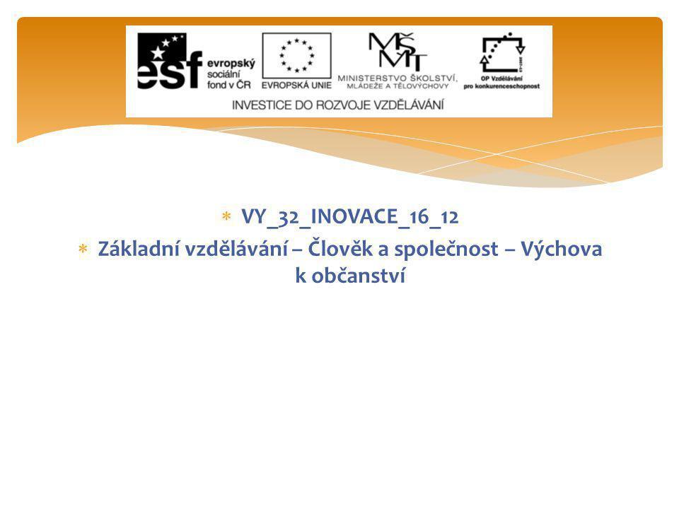  VY_32_INOVACE_16_12  Základní vzdělávání – Člověk a společnost – Výchova k občanství