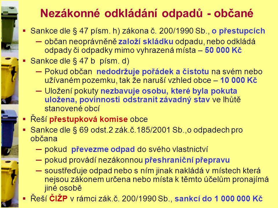 Nezákonné odkládání odpadů - občané  Sankce dle § 47 písm. h) zákona č. 200/1990 Sb., o přestupcích ─občan neoprávněně založí skládku odpadu, nebo od