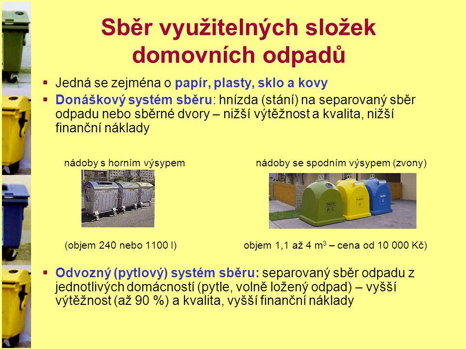 Sběr využitelných složek domovních odpadů  Jedná se zejména o papír, plasty, sklo a kovy  Donáškový systém sběru: hnízda (stání) na separovaný sběr