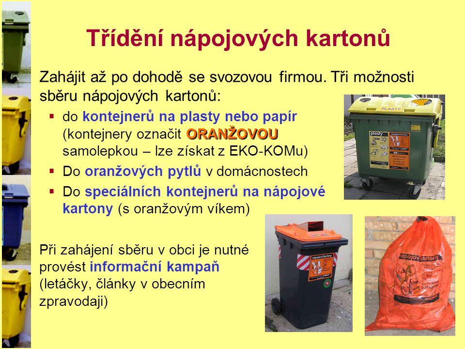 Třídění nápojových kartonů Zahájit až po dohodě se svozovou firmou. Tři možnosti sběru nápojových kartonů: ORANŽOVOU  do kontejnerů na plasty nebo pa