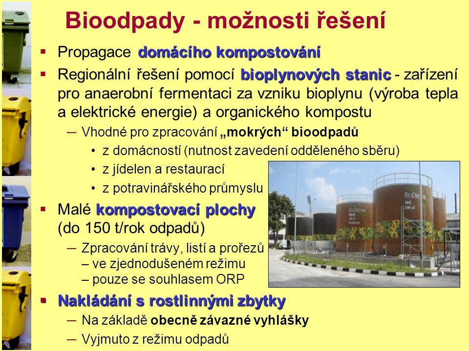 Bioodpady - možnosti řešení domácího kompostování  Propagace domácího kompostování bioplynových stanic  Regionální řešení pomocí bioplynových stanic