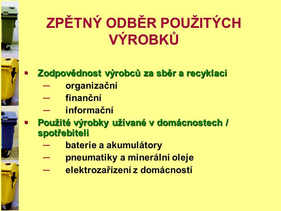 ZPĚTNÝ ODBĚR POUŽITÝCH VÝROBKŮ  Zodpovědnost výrobců za sběr a recyklaci ─organizační ─finanční ─informační  Použité výrobky užívané v domácnostech