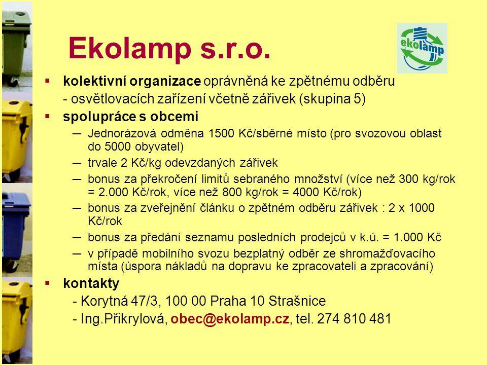 Ekolamp s.r.o.  kolektivní organizace oprávněná ke zpětnému odběru - osvětlovacích zařízení včetně zářivek (skupina 5)  spolupráce s obcemi ─Jednorá