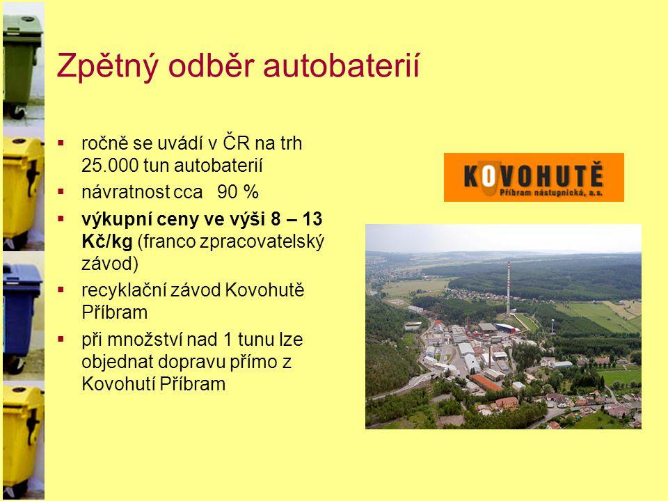 Zpětný odběr autobaterií  ročně se uvádí v ČR na trh 25.000 tun autobaterií  návratnost cca 90 %  výkupní ceny ve výši 8 – 13 Kč/kg (franco zpracov
