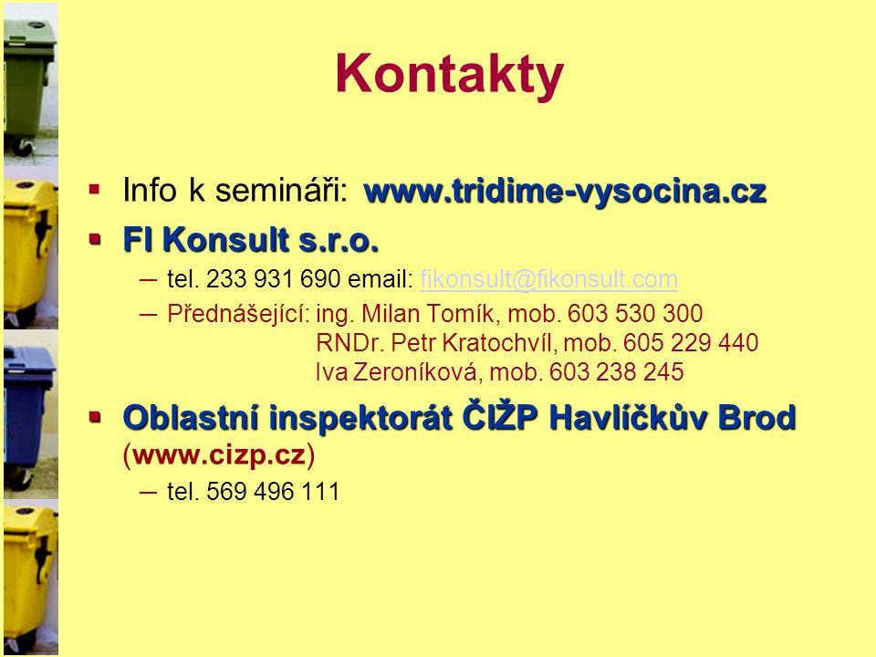 Kontakty www.tridime-vysocina.cz  Info k semináři: www.tridime-vysocina.cz  FI Konsult s.r.o. ─tel. 233 931 690 email: fikonsult@fikonsult.comfikons