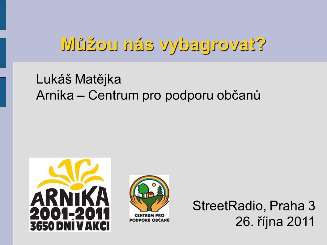 Můžou nás vybagrovat. Lukáš Matějka Arnika – Centrum pro podporu občanů StreetRadio, Praha 3 26.
