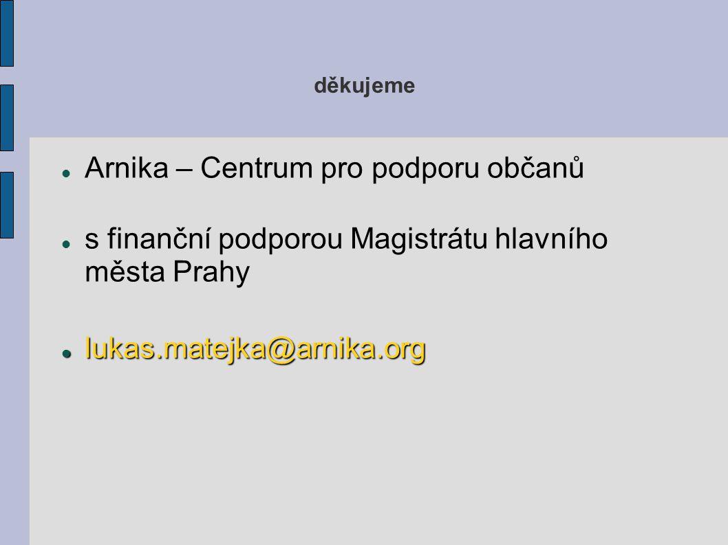 děkujeme Arnika – Centrum pro podporu občanů s finanční podporou Magistrátu hlavního města Prahy lukas.matejka@arnika.org lukas.matejka@arnika.org