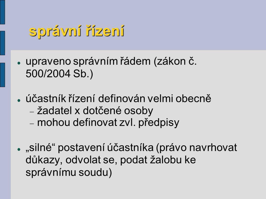 správní řízení s účastí NNO a samospráv § 70 zákona č.