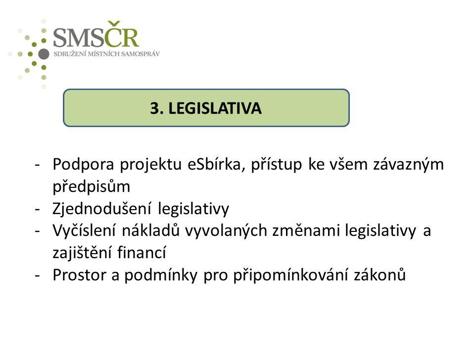 -Podpora projektu eSbírka, přístup ke všem závazným předpisům -Zjednodušení legislativy -Vyčíslení nákladů vyvolaných změnami legislativy a zajištění financí -Prostor a podmínky pro připomínkování zákonů 3.