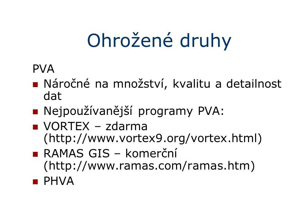 Ohrožené druhy PVA Náročné na množství, kvalitu a detailnost dat Nejpoužívanější programy PVA: VORTEX – zdarma (http://www.vortex9.org/vortex.html)  RAMAS GIS – komerční (http://www.ramas.com/ramas.htm)  PHVA