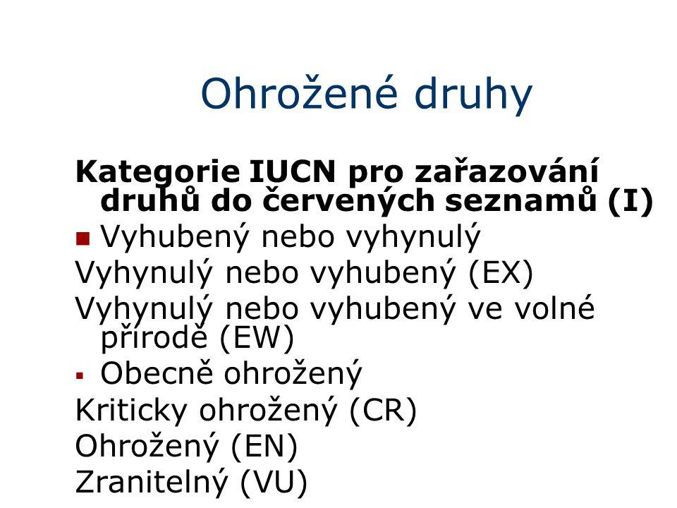Ohrožené druhy Kategorie IUCN pro zařazování druhů do červených seznamů (I) Vyhubený nebo vyhynulý Vyhynulý nebo vyhubený (EX) Vyhynulý nebo vyhubený ve volné přírodě (EW)  Obecně ohrožený Kriticky ohrožený (CR) Ohrožený (EN) Zranitelný (VU)