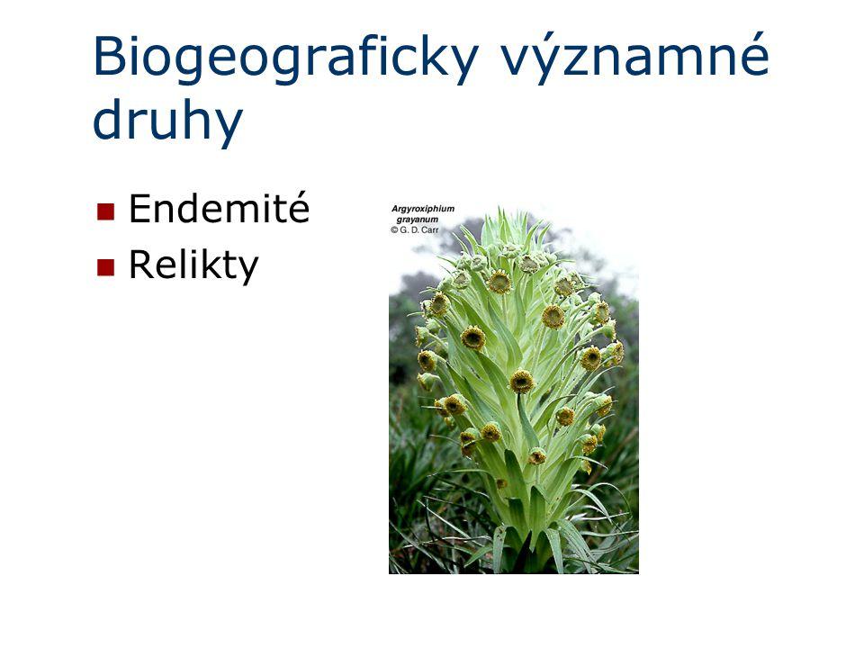 Biogeograficky významné druhy Endemité Relikty