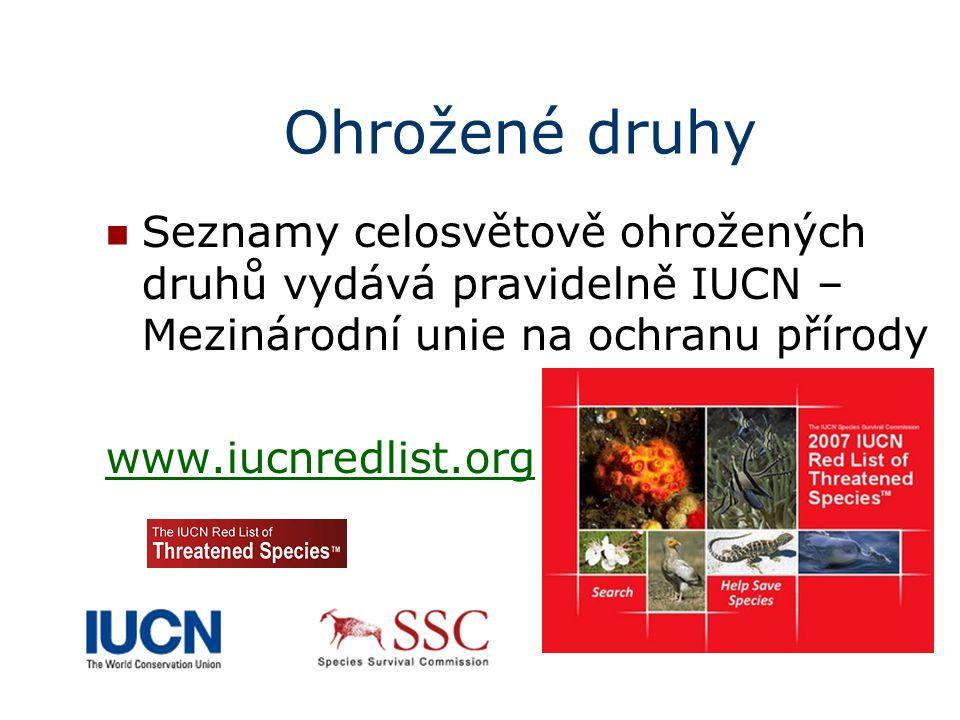 Ohrožené druhy Seznamy celosvětově ohrožených druhů vydává pravidelně IUCN – Mezinárodní unie na ochranu přírody www.iucnredlist.org