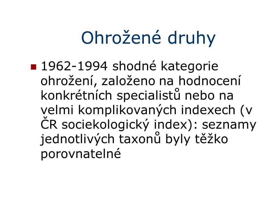 Ohrožené druhy 1962-1994 shodné kategorie ohrožení, založeno na hodnocení konkrétních specialistů nebo na velmi komplikovaných indexech (v ČR sociekologický index): seznamy jednotlivých taxonů byly těžko porovnatelné