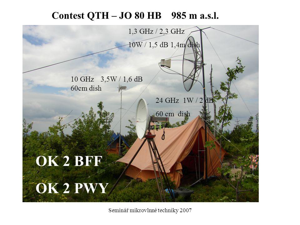 Seminář mikrovlnné techniky 2007 1,3 GHz / 2,3 GHz 10W / 1,5 dB 1,4m dish 10 GHz3,5W / 1,6 dB 60cm dish 24 GHz 1W / 2 dB 60 cm dish Contest QTH – JO 8