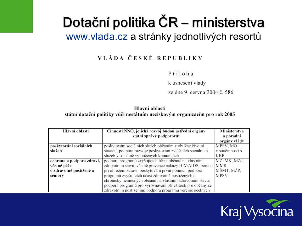 Dotační politika ČR – ministerstva Dotační politika ČR – ministerstva www.vlada.cz a stránky jednotlivých resortů