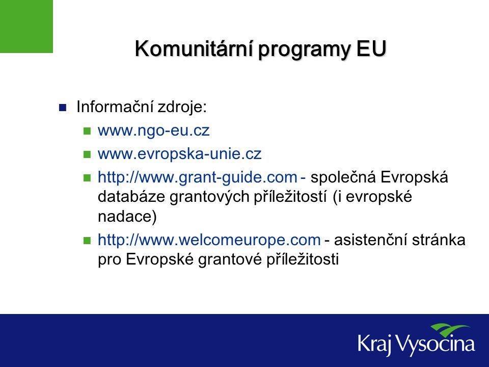 Komunitární programy EU Informační zdroje: www.ngo-eu.cz www.evropska-unie.cz http://www.grant-guide.com - společná Evropská databáze grantových příležitostí (i evropské nadace) http://www.welcomeurope.com - asistenční stránka pro Evropské grantové příležitosti