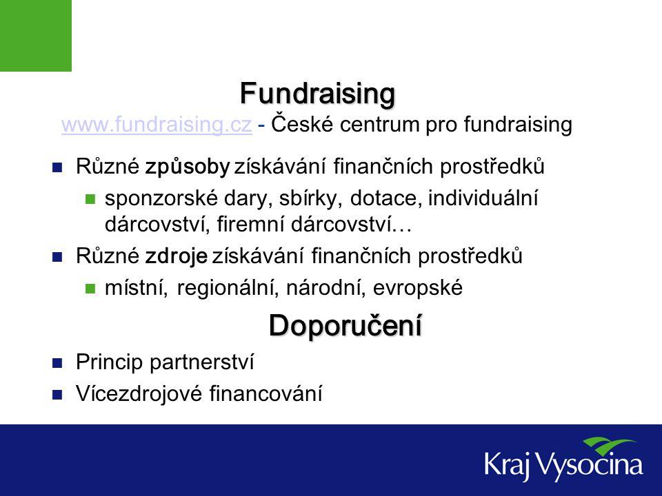 Druhy podpory Podle obsahu finanční (dotace,…) nefinanční (dary,…) Podle dosažitelnosti místní (lidé, radnice,…) regionální (kraj, mikroregion,…) státní (státní fondy, grantové agentury,…) evropské (SF EU, evropské nadace,…) Podle zdroje soukromé (individuální dárci, podnikatelé, nadace,…) veřejné (státní fondy, evropské fondy,…)