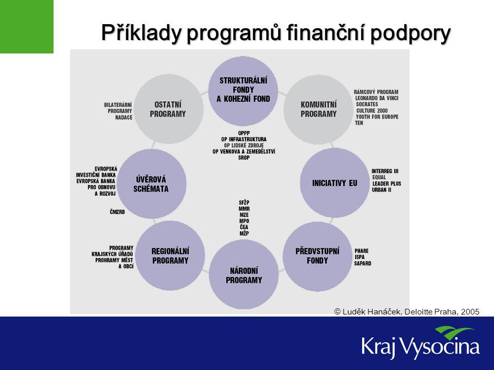 Příklady programů finanční podpory © Luděk Hanáček, Deloitte Praha, 2005