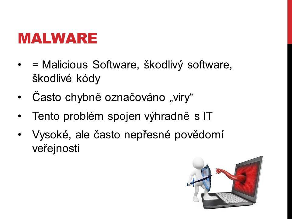 """= Malicious Software, škodlivý software, škodlivé kódy Často chybně označováno """"viry Tento problém spojen výhradně s IT Vysoké, ale často nepřesné povědomí veřejnosti"""