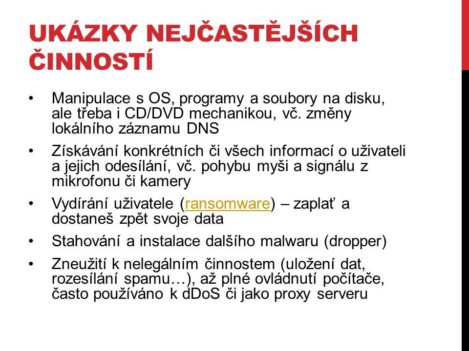 UKÁZKY NEJČASTĚJŠÍCH ČINNOSTÍ Manipulace s OS, programy a soubory na disku, ale třeba i CD/DVD mechanikou, vč.