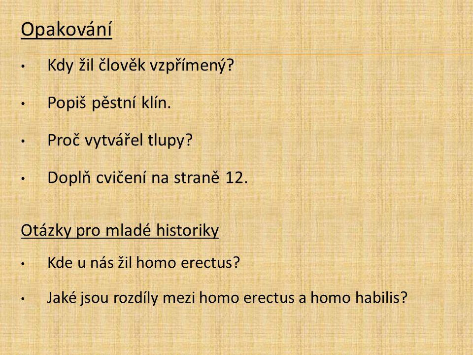 Opakování Kdy žil člověk vzpřímený? Popiš pěstní klín. Proč vytvářel tlupy? Doplň cvičení na straně 12. Otázky pro mladé historiky Kde u nás žil homo