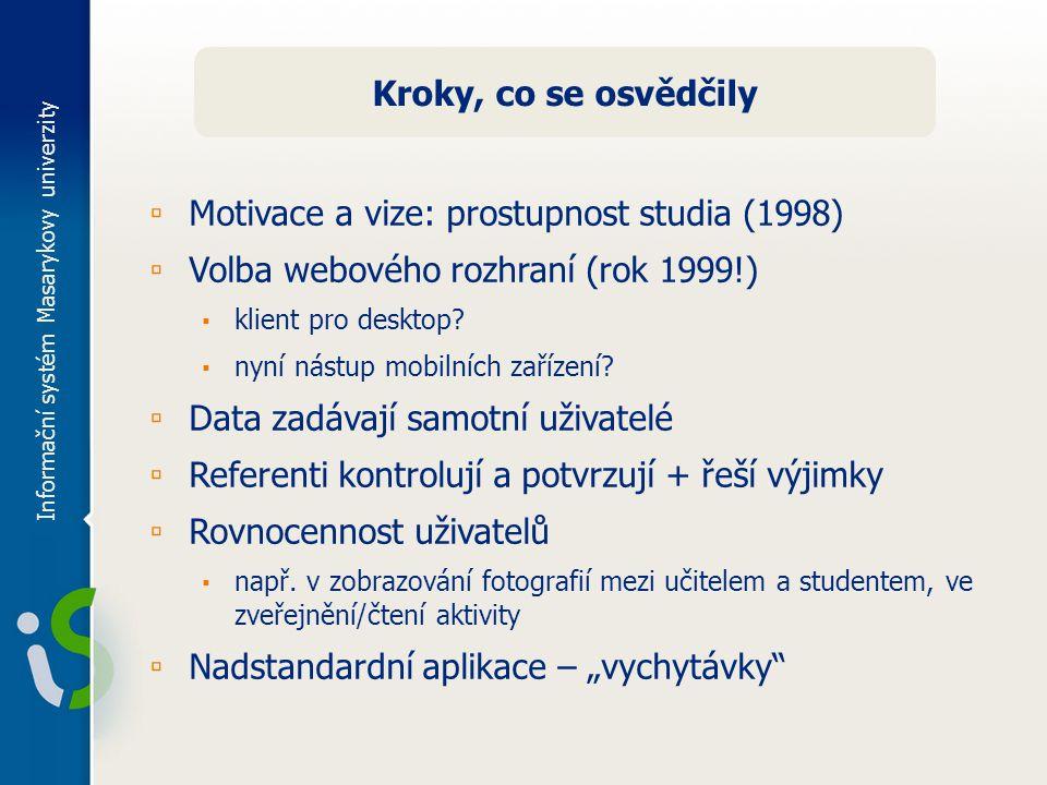 Informační systém Masarykovy univerzity Kroky, co se osvědčily ▫ Motivace a vize: prostupnost studia (1998) ▫ Volba webového rozhraní (rok 1999!) ▪ klient pro desktop.