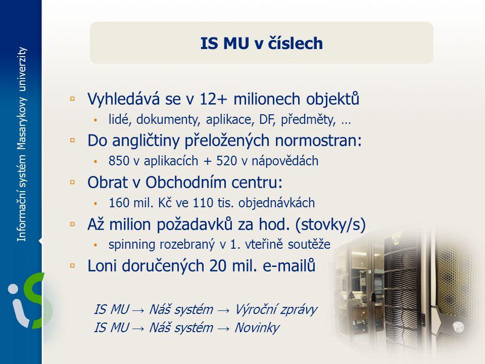 Informační systém Masarykovy univerzity IS MU v číslech ▫ Vyhledává se v 12+ milionech objektů ▪ lidé, dokumenty, aplikace, DF, předměty, … ▫ Do angličtiny přeložených normostran: ▪ 850 v aplikacích + 520 v nápovědách ▫ Obrat v Obchodním centru: ▪ 160 mil.