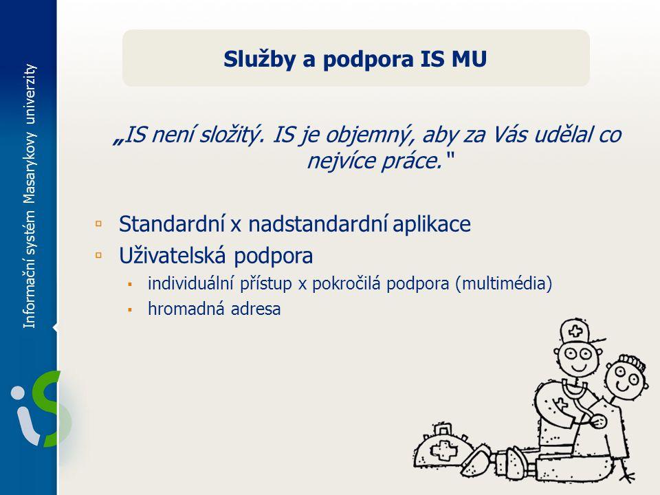 """Informační systém Masarykovy univerzity Služby a podpora IS MU """"IS není složitý."""