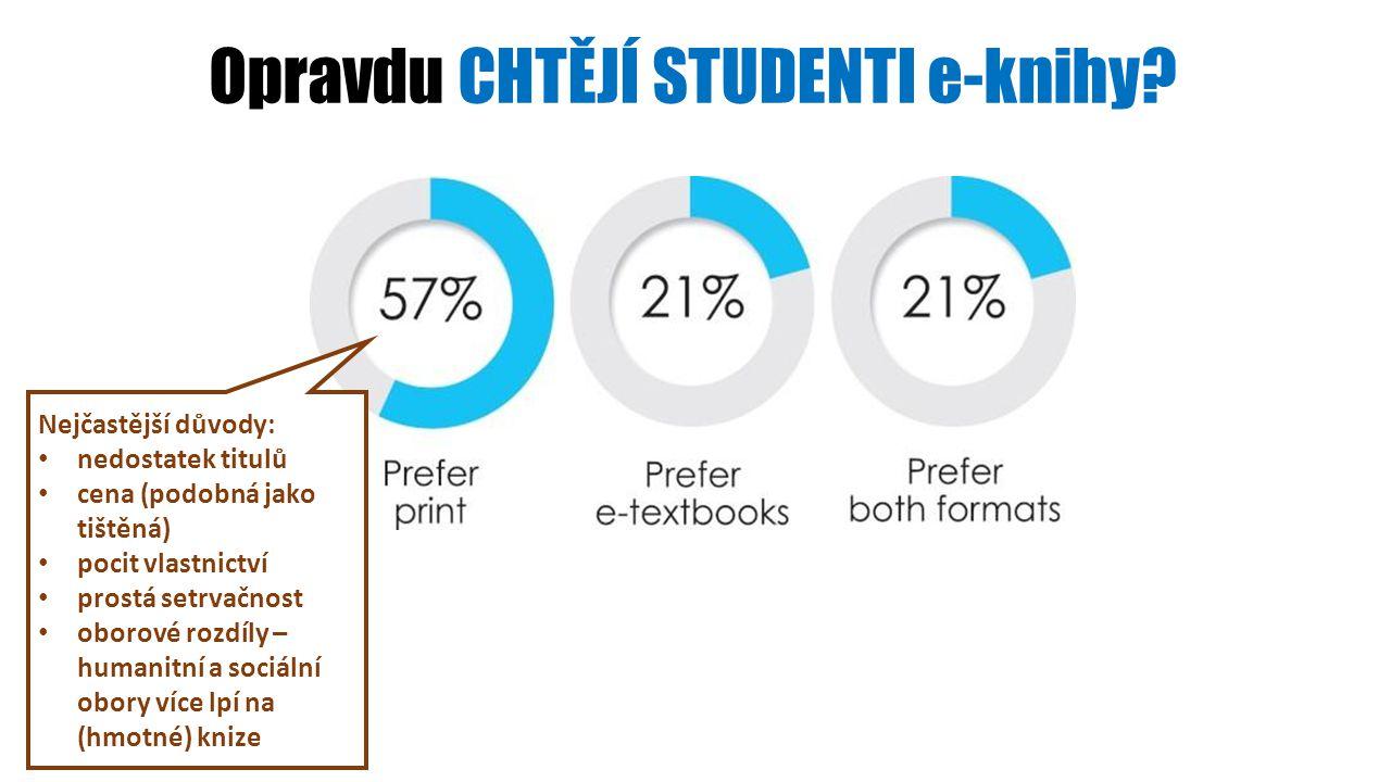 Opravdu CHTĚJÍ STUDENTI e-knihy? Nejčastější důvody: nedostatek titulů cena (podobná jako tištěná) pocit vlastnictví prostá setrvačnost oborové rozdíl