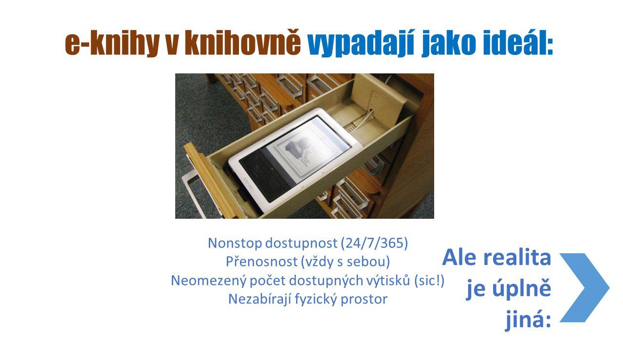 e-knihy v knihovně vypadají jako ideál: Nonstop dostupnost (24/7/365) Přenosnost (vždy s sebou) Neomezený počet dostupných výtisků (sic!) Nezabírají f