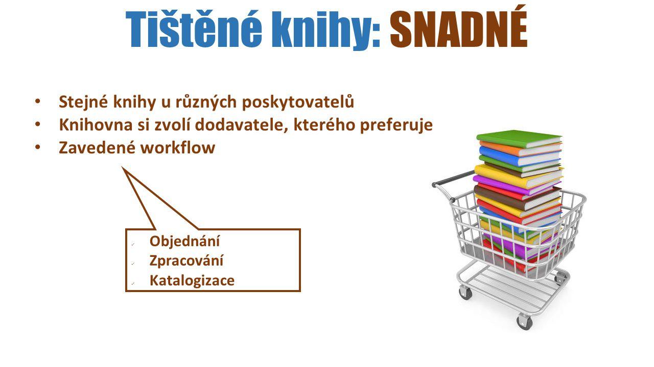 Tištěné knihy: SNADNÉ Stejné knihy u různých poskytovatelů Knihovna si zvolí dodavatele, kterého preferuje Zavedené workflow Objednání Zpracování Kata