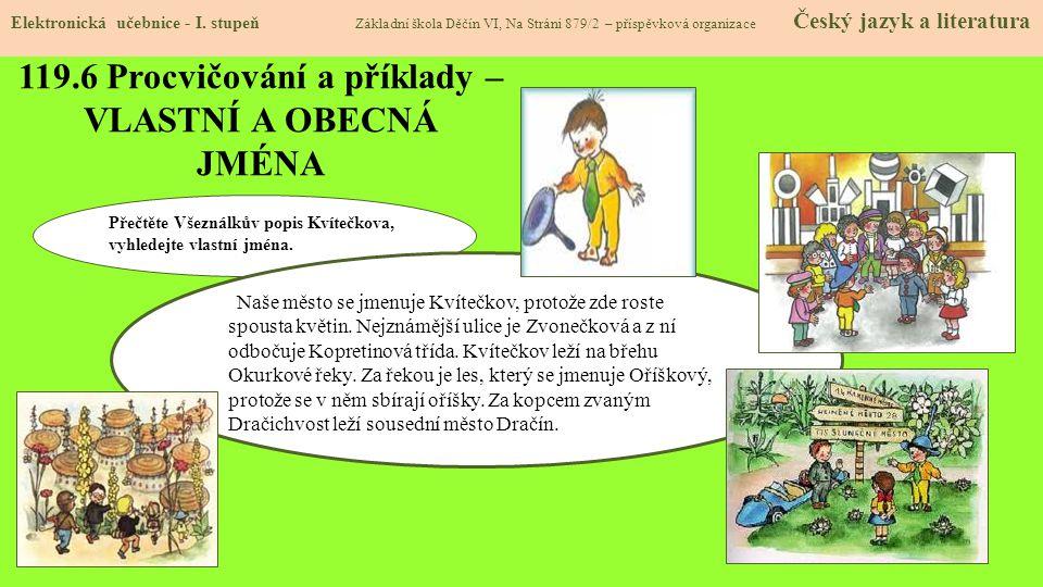 119.7 Procvičení a příklady – VLASTNÍ A OBECNÁ JMÉNA Elektronická učebnice - I.