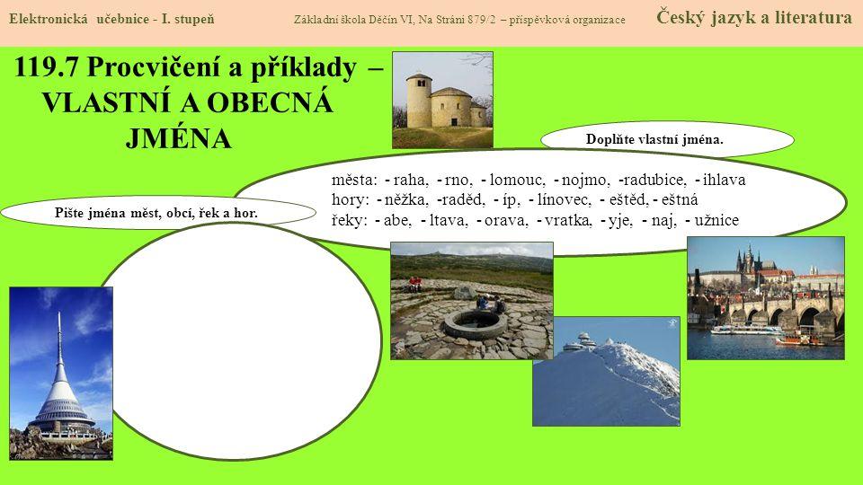 119.8 Procvičení a příklady – VLASTNÍ A OBECNÁ JMÉNA Elektronická učebnice - I.