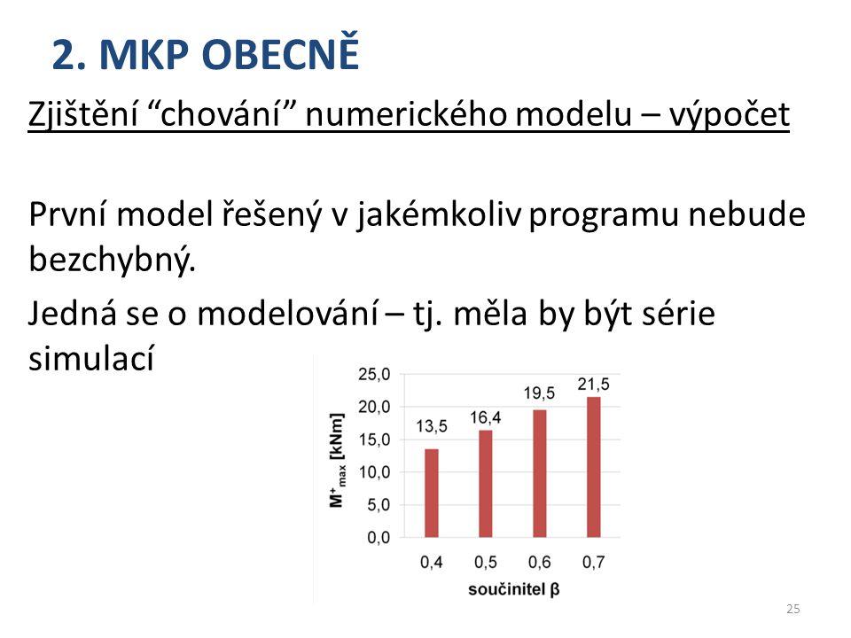 """2. MKP OBECNĚ Zjištění """"chování"""" numerického modelu – výpočet První model řešený v jakémkoliv programu nebude bezchybný. Jedná se o modelování – tj. m"""