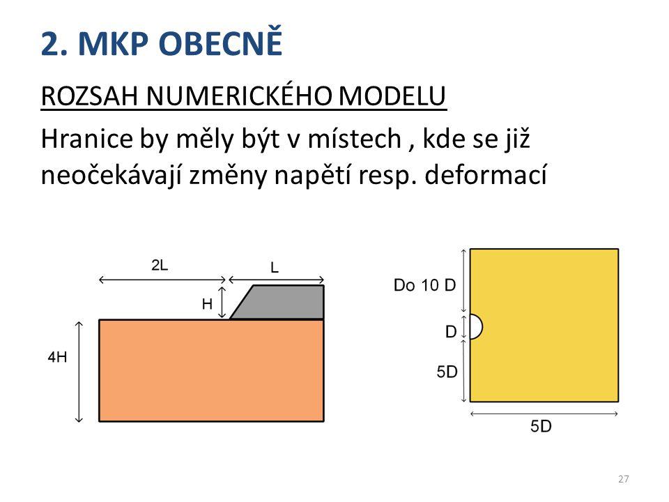 2. MKP OBECNĚ ROZSAH NUMERICKÉHO MODELU Hranice by měly být v místech, kde se již neočekávají změny napětí resp. deformací 27