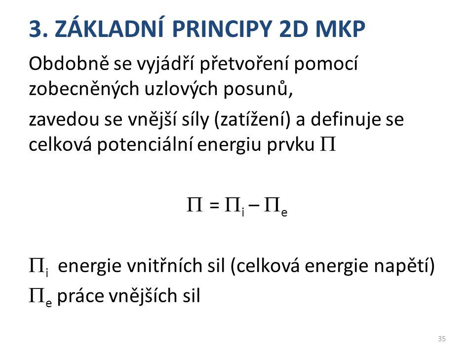 3. ZÁKLADNÍ PRINCIPY 2D MKP Obdobně se vyjádří přetvoření pomocí zobecněných uzlových posunů, zavedou se vnější síly (zatížení) a definuje se celková