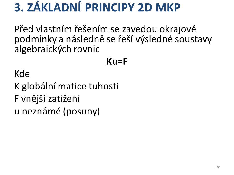 3. ZÁKLADNÍ PRINCIPY 2D MKP Před vlastním řešením se zavedou okrajové podmínky a následně se řeší výsledné soustavy algebraických rovnic Ku=F Kde K gl