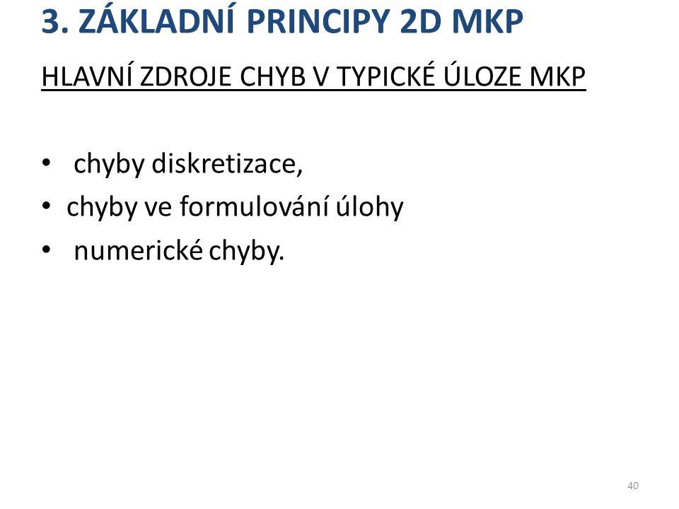 3. ZÁKLADNÍ PRINCIPY 2D MKP HLAVNÍ ZDROJE CHYB V TYPICKÉ ÚLOZE MKP chyby diskretizace, chyby ve formulování úlohy numerické chyby. 40