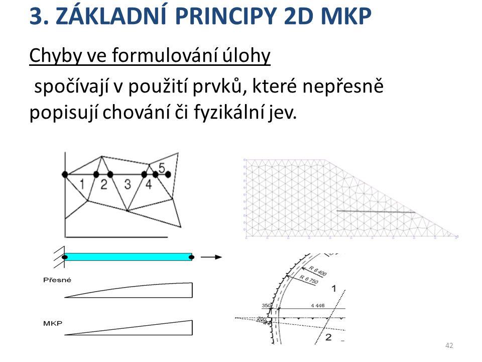 3. ZÁKLADNÍ PRINCIPY 2D MKP Chyby ve formulování úlohy spočívají v použití prvků, které nepřesně popisují chování či fyzikální jev. 42