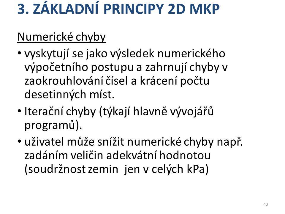 3. ZÁKLADNÍ PRINCIPY 2D MKP Numerické chyby vyskytují se jako výsledek numerického výpočetního postupu a zahrnují chyby v zaokrouhlování čísel a kráce
