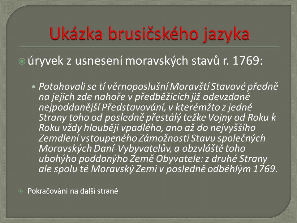  úryvek z usnesení moravských stavů r.