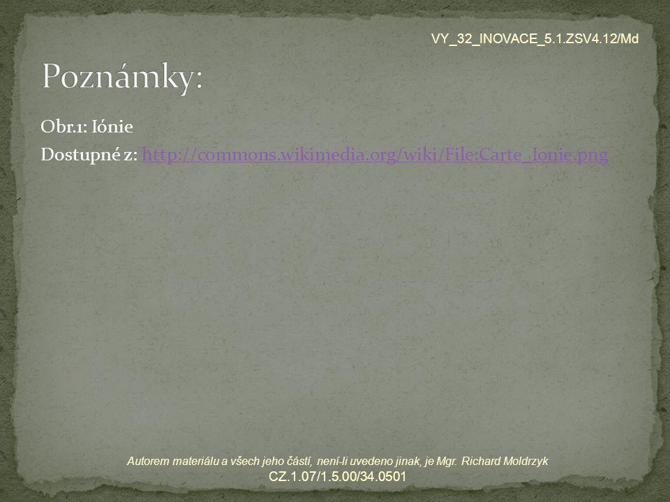 Obr.1: Iónie Dostupné z: http://commons.wikimedia.org/wiki/File:Carte_Ionie.pnghttp://commons.wikimedia.org/wiki/File:Carte_Ionie.png VY_32_INOVACE_5.