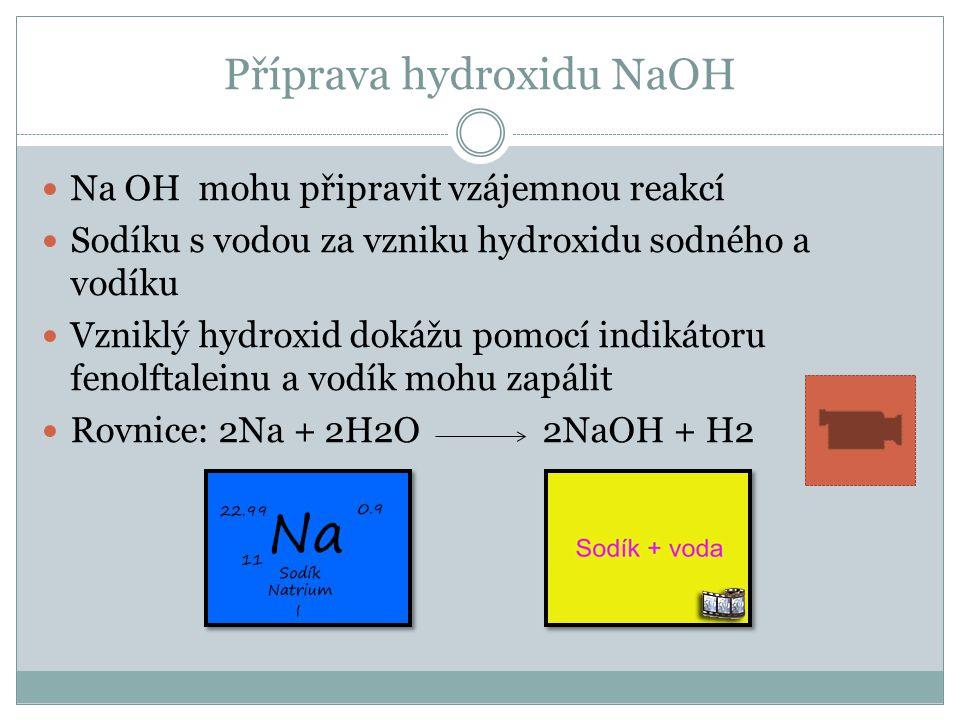Příprava hydroxidu NaOH Na OH mohu připravit vzájemnou reakcí Sodíku s vodou za vzniku hydroxidu sodného a vodíku Vzniklý hydroxid dokážu pomocí indikátoru fenolftaleinu a vodík mohu zapálit Rovnice: 2Na + 2H2O 2NaOH + H2