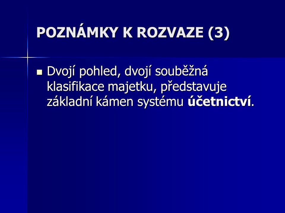 POZNÁMKY K ROZVAZE (3) Dvojí pohled, dvojí souběžná klasifikace majetku, představuje základní kámen systému účetnictví. Dvojí pohled, dvojí souběžná k