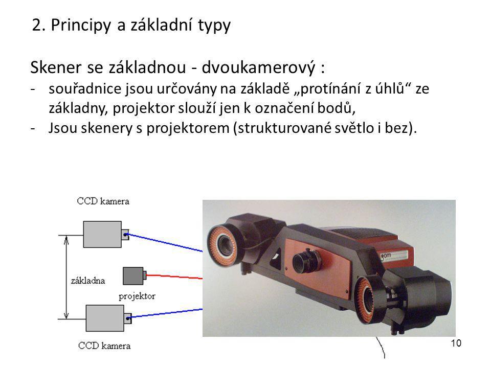 """10 Skener se základnou - dvoukamerový : -souřadnice jsou určovány na základě """"protínání z úhlů"""" ze základny, projektor slouží jen k označení bodů, -Js"""