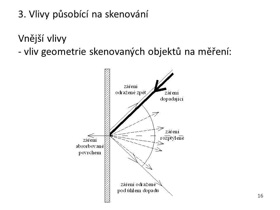16 Vnější vlivy - vliv geometrie skenovaných objektů na měření: 3. Vlivy působící na skenování