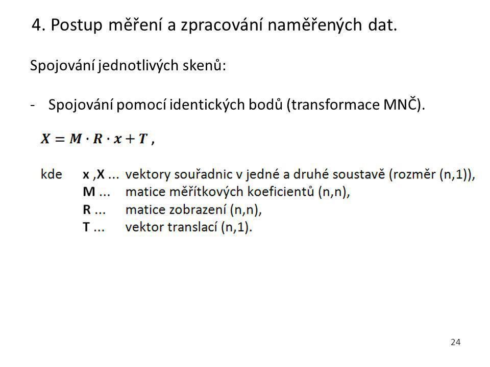 24 Spojování jednotlivých skenů: -Spojování pomocí identických bodů (transformace MNČ).