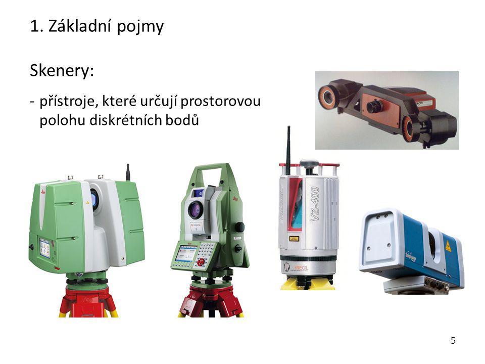 5 Skenery: - přístroje, které určují prostorovou polohu diskrétních bodů 1. Základní pojmy