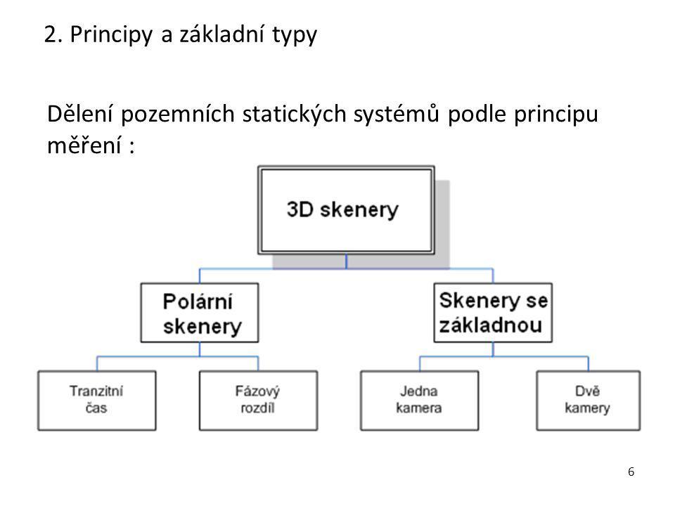 6 2. Principy a základní typy Dělení pozemních statických systémů podle principu měření :